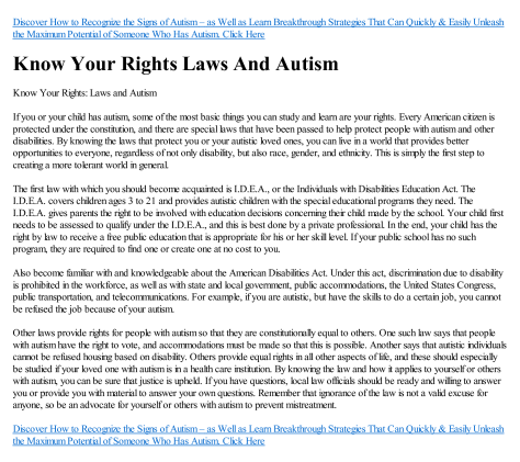 Laws and Rights in Autism