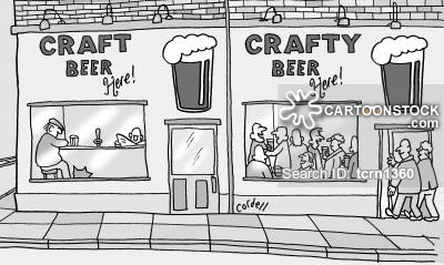 A bar selling 'crafty' beer is more popular than a bar selling 'craft' beer.