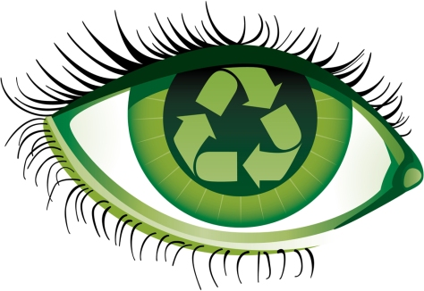 Human eye with the recycling emblem inside File contains gradients